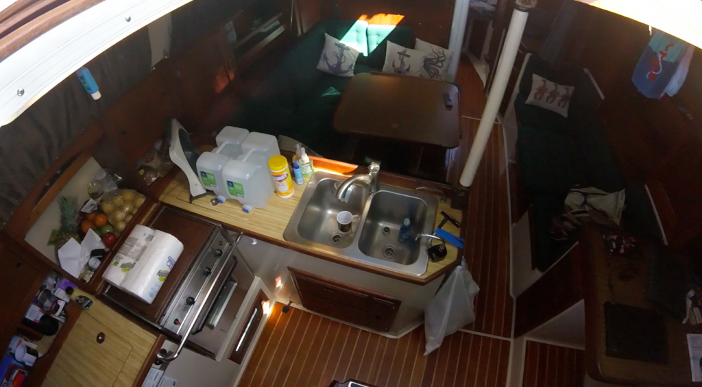 Inside the cabin. Nice galley and seating area.