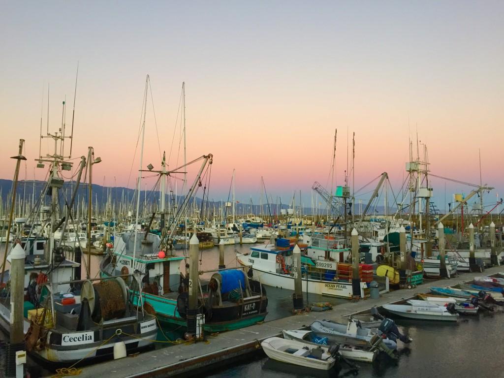 Santa Barbara marina at sunset