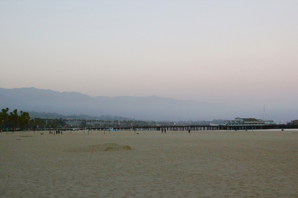 Rainy morning in Santa Barbara, hills covered in fog...